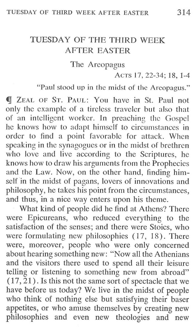 Tuesday Third Week after Easter Breviary Meditation 1