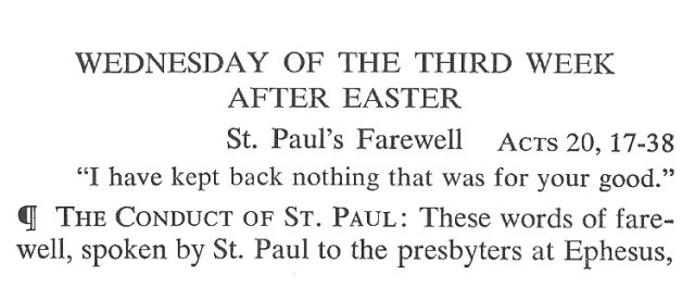 Wednesday Third Week after Easter Breviary Meditation 1