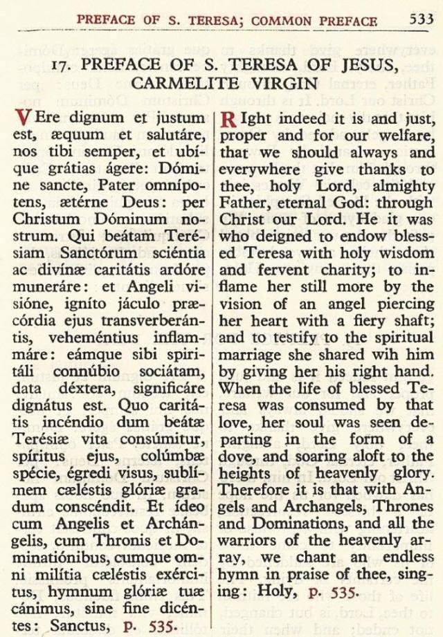 Preface Saint Teresa Carmelite Missal